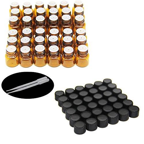 One Trillionschliff, 36pcs-1ml/2ml Bernstein Probe Glas Flaschen/Ampullen mit Öffnung Reducer und schwarze Kappen für ätherische Öle, Chemie LAB, Colognes &, Parfüms und 2Kunststoff Pipetten Dropper