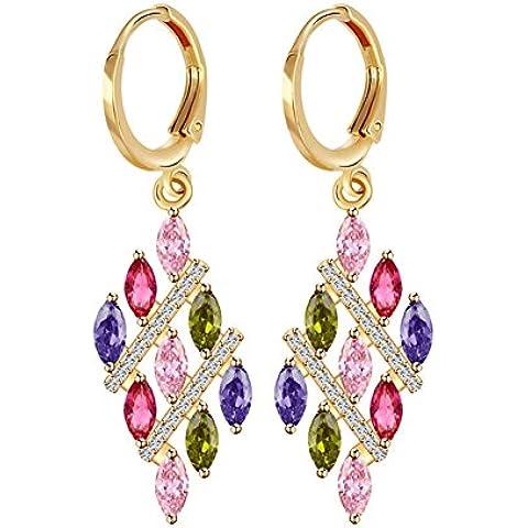ZWX Altri colori/Occhini con pietra dure/ Stile europeo/Love/ goccia/ modello di campane/ un orecchino singolo-D