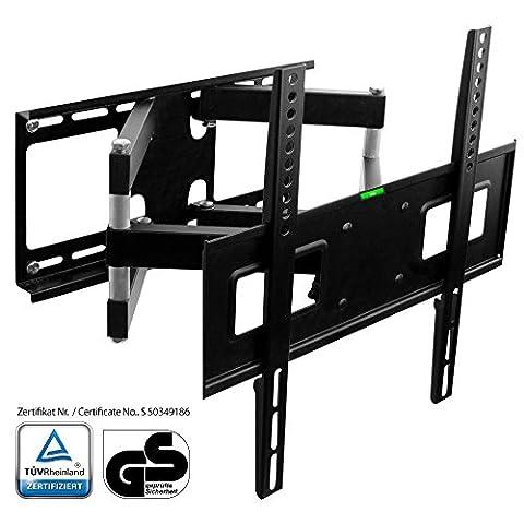 XOMAX ® XM-WH105 TV Wandhalterung + TÜV geprüft + Doppelarm Wandhalter für Plasma LCD LED TFT Fernseher Monitor + VESA Standard 400x400, 400x200, 200x200 + für 32 37 39 40 42 46 47 48 50 52 55 Zoll Fernseher + Wandabstand ca. 5,5 - 47 cm + verstellbar, neigbar, schwenkbar, drehbar, ausziehbar + mit abnehmbarer Wasserwaage + Universal passend für fast alle TV-Hersteller + Tragfähigkeit bis max. 40 Kg + schwarz