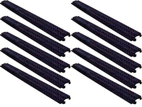 1 Kanal Kabelschutz Kabelbrücke 100 x 13 x 2 cm für Fußgänger / Radfahrer / Büro - in schwarz oder gelb - verschiedene Set-Größen (10 Stück, schwarz)