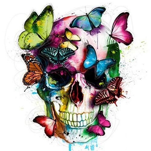 Yalatan 5D Diamantschädel mit Schmetterlingsmalerei, voller Diamant bedeckt Strass Kit DIY Malerei Handcraft By Number Kits, bunte Schmetterling und Schädel Home Decor -