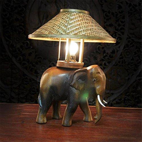 LUCKY CLOVER-A Tischlampe Thai Holz Handwerk PersöNlichkeit Kleinen Elefanten Funktionen SüDostasiatische Lampen Dekorative NatüRliche Original Vintage Nachahmung Handbuch