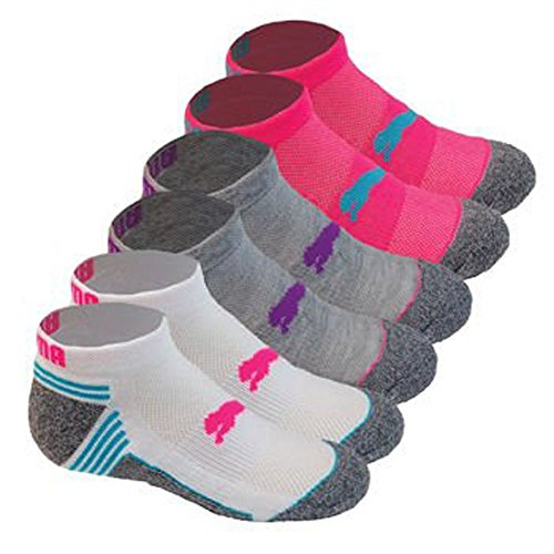 Puma Kids All Sport Cushioned Low Cut Socks - 6 Pack Shoe Size 9 - 3.5 (Gray/ Pink/ White)  available at amazon for Rs.1016