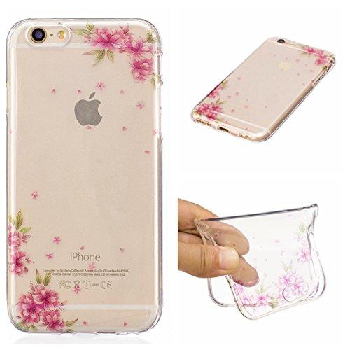 iPhone 6 Hülle, Voguecase Silikon Schutzhülle / Case / Cover / Hülle / TPU Gel Skin für Apple iPhone 6/6S 4.7(Blau Schmetterling 18) + Gratis Universal Eingabestift Pfirsichblüte 15