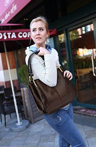 LeahWard® Damen Mode Essener Berühmtheit Schlange Kunstleder Bewirken Schultertasche Damen Qualität Herrlich Modisch Käufer Handtasche CWS00243 Coffee