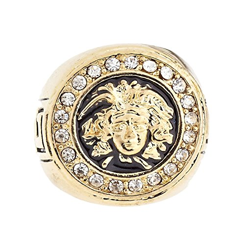 .iced-out. Bling Hip Hop Designer Ring - Medusa Gold - 13