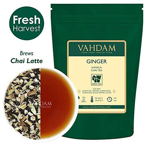 VAHDAM, té Chai de Masala de jengibre (100 tazas) | ESPECIAS 100% NATURALES | Auténtico té indio de jengibre | Hojas de té Chai con especias | té helado o Chai Latte | 100gr (juego de 2)