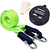 Recovery Straps,Easma Tow Straps For Cars Fluorescent 17600Ib 5M With 2 Shackles&2 Slip-Proof Gloves