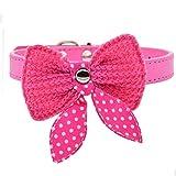 Hundehalsband PU Leder Halsbänder mit mit Gestricktes Schleife 20-34cm Halsumfang XS S für kleine Hunde Welpen Katze, Rosa XS