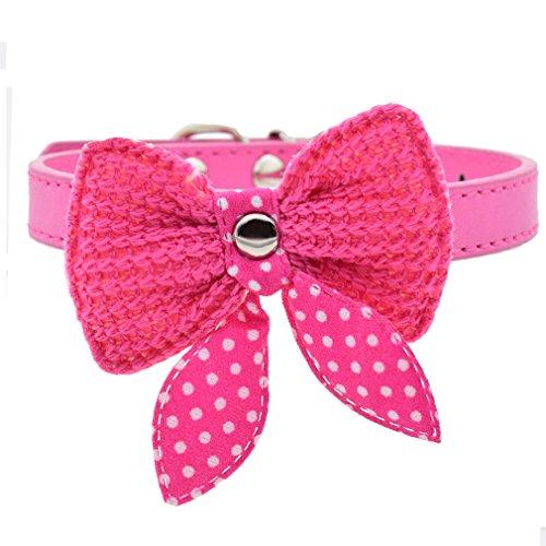 Hundehalsband PU Leder Halsbänder mit mit Gestricktes Schleife 20-34cm Halsumfang XS S für kleine Hunde Welpen Katze, Rosa XS (Gestrickte Leder)