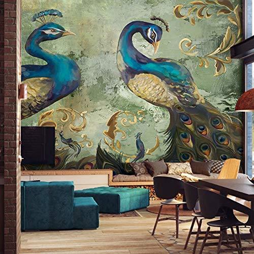 WRTLG Tapete Retro Art Pfau Hintergrund Wand Dekorationen Große Wandmalerei Wohnzimmer Sofa Schlafzimmer Tapete (Pfau Dekor Bad)