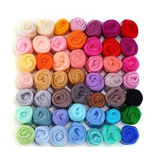 WOWOSS 50 Farben Filzwolle Set Märchenwolle Nähset Nadelfilz Wolle Set,Filznadeln Werkzeug Kit Wolle Roving Garn für Nadel DIY Handwerk (3g/Farbe) -