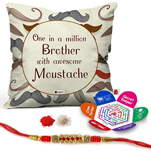 Indigifts MicroSatin, Fibre and Cotton Moustache Printed Cushion Cover with Filler, 12x12-inch (White)
