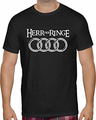 Herren T-Shirt AUDI Herr Der Ringe Kurzarm ( Schwarz , 2XL ) (Kurzarm-t-shirt Glow)