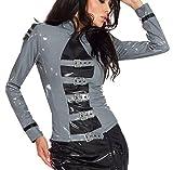 Insistline - Langärmelige Damen Jacke / Bluse im Military-Look grau-schwarz - Gr. XXL