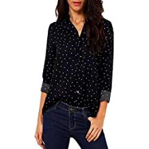 Camisa mujer ❤ Amlaiworld Camiseta de gasa de manga larga casual blusa suelta de mujer
