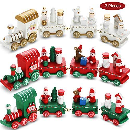 3 Pièces Train de Noël en Bois Train de Noël Décoration avec 3 Chariots pour Garçons Filles Enfants Calendrier de l'Avent de Fête Décor Cadeau