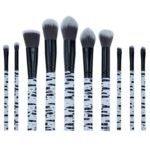 AKAAYUKO 10PCS Makeup Brush set Rayures de zèbre Cosmétique Fondation Beauté Maquillage Brosses -Noir