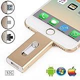 32 GB Chiavetta Pendrive - Memory Stick con connettore Lightning Micro USB e USB (3 in 1), Compatibile con iPhone iPad IOS Andriod Telefono e Computer (Argento)