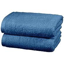 AmazonBasics Quick Dry Cotton Towel Set, 2 Hand - Lake Blue