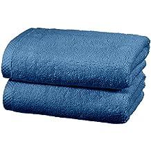 AmazonBasics - Juego de 2 toallas de secado rápido, 2 toallas de mano - Azulón