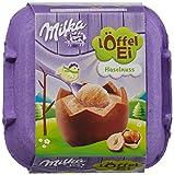 Milka Löffel-Ei, 4 Alpenmilchschokolade-Eier mit Haselnusscremefüllung, 4er Pack (4 x 136 g)