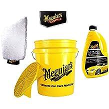 Práctico Juego de Auto lavado. Meguiars Lavado Cubo Grit Guard 13L + Auto Champú g17748eu Ultimate Wash & Wax 1420mL + Manopla e102eu Ultimate Wash Mitt
