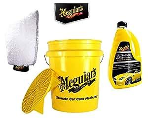 PRAKTISCHES AUTO WASCHSET! MEGUIARS Wascheimer EIMER GRIT GUARD 18,9 L + AUTOSHAMPOO G17748EU Shampoo Ultimate Wash & Wax 1420 ML + Waschhandschuh E102EU ULTIMATE WASH MITT