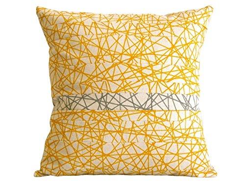 Gelbe und graue Kissen,Unique Design Stoff Kissen, Leinen Baumwolle, BeccaTextile Design.