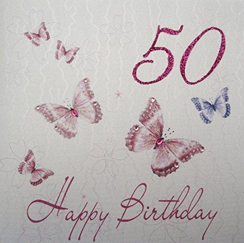 WHITE COTTON CARDS wbb 127.00 cm Pink Butterflies 127.00 cm, Happy Birthday, 50. Geburtstag (Happy Birthday Butterfly)