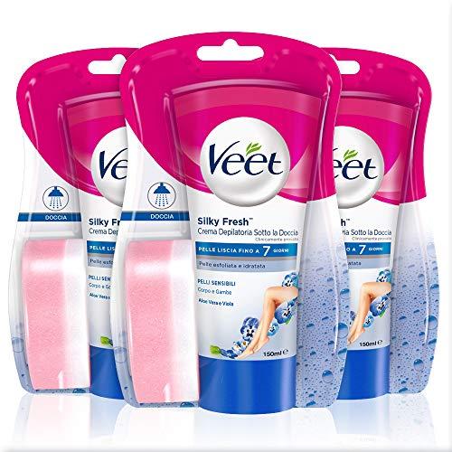 Veet Silk & Fresh Technology Crema Depilatoria Sotto la Doccia per Pelli Sensibili, 3 Confezioni da 150 ml
