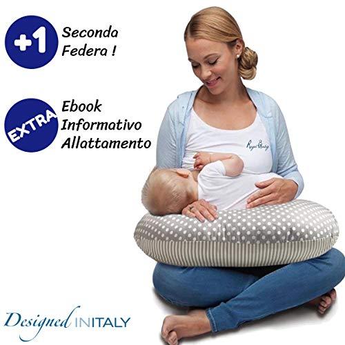 Royal Baby Cuscino Allattamento Multifunzione - Cuscino Neonato Extra 2 Federe Puro Cotone Sfoderabile e Lavabile - Ebook Allattamento Incluso - Cuscino Certificato Oeko Tex