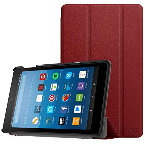 ATiC Case Fits All-New Amazon Fire HD 8 Tablet (7th & 8th Gen, 2017 & 2018 Release)-Smart Lightweight Slim Shell Stand Cover with Auto Wake/Sleep for Fire HD 8, Red