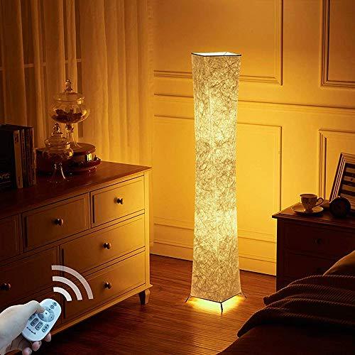 lvyuan Lampadaire Design Moderne Lampe de Sol Abat-jour en Tissu Plissé avec 2 Ampoules Intelligentes à télécommandepour Salon Chambre Decoration 20x20x132cm Europäischer Netzstecker