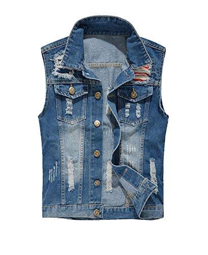 Guiran Herren Zerrissene Ärmellose Jacke Jeans Weste Beiläufige Denim Weste Blau 2XL (Unter Jeans-jacke-weste Männer Für 20)