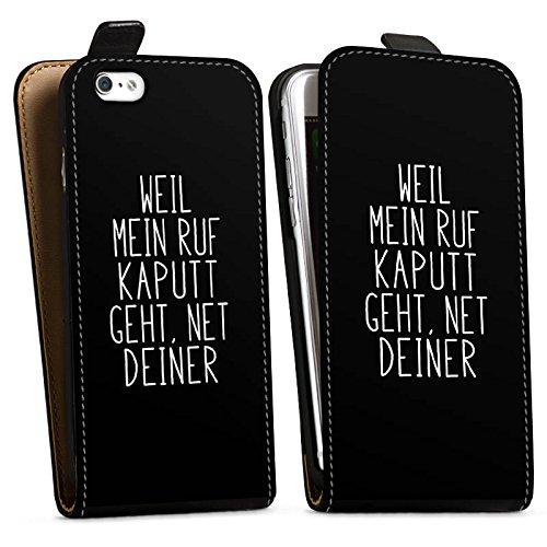 Apple iPhone 7 Plus Hülle Case Handyhülle Weil mein Ruf kaputt geht Pietro Lombardi Spruch Downflip Tasche schwarz