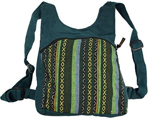 Guru-Shop Ethno Rucksack, Nepalrucksack - Petrol, Herren/Damen, Blau, Baumwolle, Size:One Size, 30x30x13 cm, Ausgefallene Stofftasche