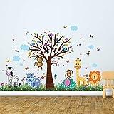 """wallflexi decalcomanie da parete rimovibile adesivi murali """"Happy Zoo e farfalle, erba autoadesiva, nursery Kindergarden scuola bambini, baby room decoration, multicolore"""