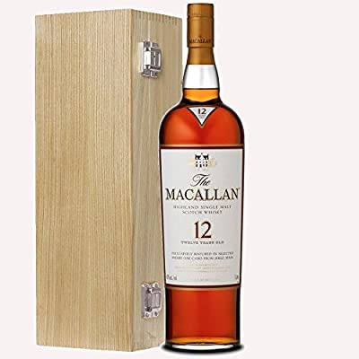 The Macallan Sherry Oak 12 Year Old Single Malt Whisky 70cl Bottle in Luxury Solid Oak Gift Box with Hand Crafted Gifts2Drink Tag