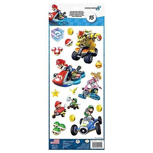 Pegatinas, diseño de Nintendo Mario Kart 8 Roommates adhesivas () 15 unidades, diseño estilo: infantil para niño