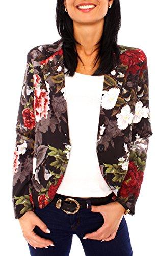 Damen Sommer Blazer Jacke Satinblazer Sakko Kurz Gefüttert Langarm Floral Geblümt Blumen-Muster Schwarz-Bunt S - 36