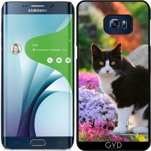 Hülle für Samsung Galaxy S6 Edge Plus - Tuxedo-Katze In Einer Blumengarten by Katho Menden (Edge-tuxedo)