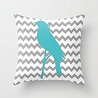 Chevron Bird tela piazza federe con cerniera di copertura cuscino federa 45,7x 45,7cm