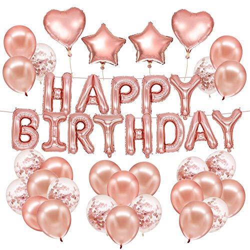 Rosa Geburtstagsdeko Happy Birthday Girlande 15 Rosagold Ballons 15 Konfetti Ballons 4 Herz Stern 4 Fünfeckiger Stern von Iordan