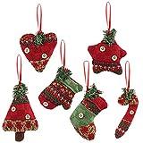 Kesote Set di 6 Ornamenti per Albero di Natale Accossori Decorativi di Natale di Diverse Forme Pendenti di Tessuti per Albero di Natale, Finestre e Porte
