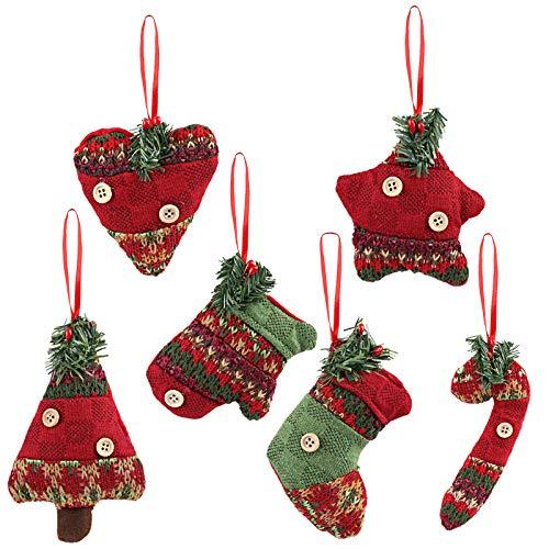 Kesote Ensemble de 6 Ornements darbre de Noël Accessoires de Noël Décoratifs de Ddifférentes Formes Décoration de Tissus pour Sapin de Noël, Fenêtres et Portes