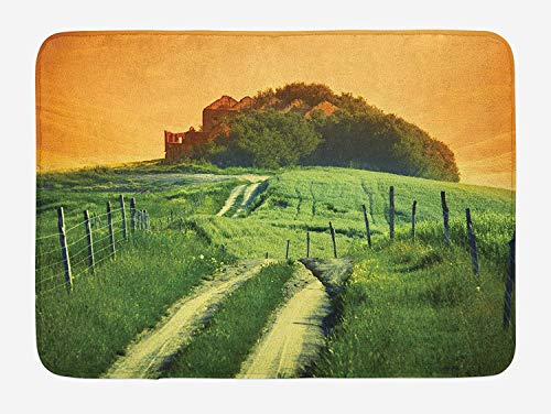 NasNew Doormats Tuscan Bath Mat, Peaceful Landscape of Pienza Tuscany Vineyard Trees Rural Ancient Farm House, Plush Bathroom Decor Mat with Non Slip Backing, 23.6 W X 15.7 W Inches, Orange and Green