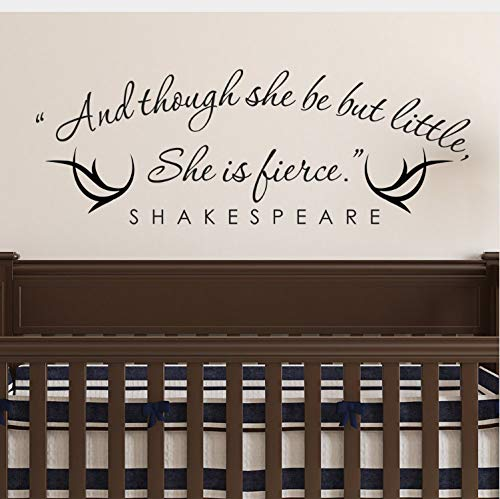 xsongue and Though She Be But Little She Is Fierce Shakespeare Vinyl Wall Quotes Stikers Decal For Room Decor
