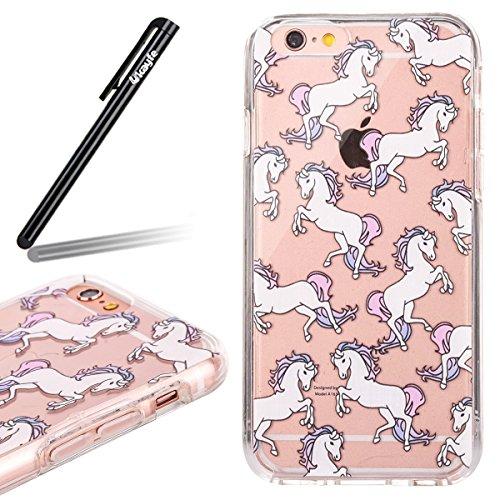 Coque Housse Etui pour iPhone 7 Plus/iPhone 8 Plus, iPhone 8 Plus Coque en Silicone Noctilucent Etui Housse, iPhone 7 Plus Slim Coque Transparent Soft Etui Housse, iPhone 7 Plus Silicone Case Luminous cheval blanc