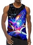 Goodstoworld Bunt Muskelshirt Herren Lustige Weste Top 3D Galaxy Print Casual Ärmellose T Shirt für Men M